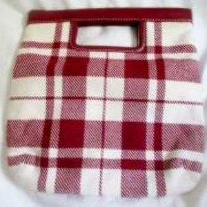 NEW BANANA REPUBLIC Wool Leather TOTE Clutch Plaid